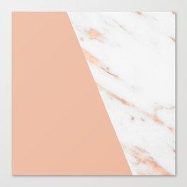 Marble Geometric Rose Gold Pink Quartz Canvas Print