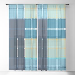 Colored vector design, tartan fabric pattern, blue color Sheer Curtain