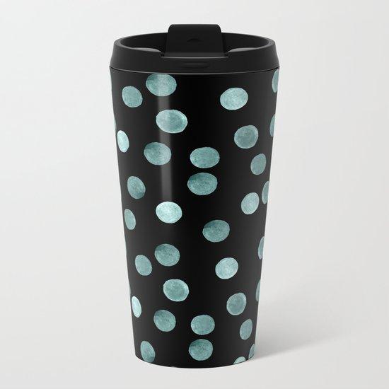Blue polka dots on a black background . Watercolor pattern . Metal Travel Mug