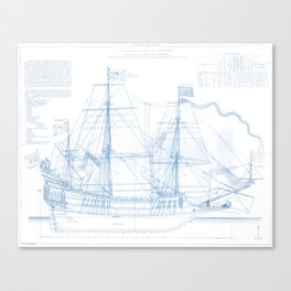 1636 French ship Couronne - Blueprint Style Canvas Print
