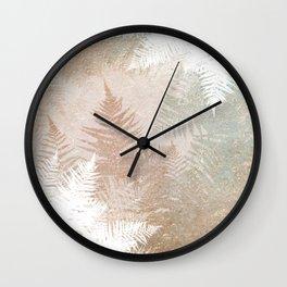 Fern Snowflakes - Golden, bronze & Sage Wall Clock