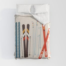 Retro Ski Illustration Duvet Cover