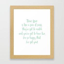 True Love. Mint and White. Framed Art Print