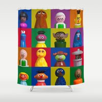 sesame street Shower Curtains featuring Action Figure Grid: Sesame Street by CantinaDanny