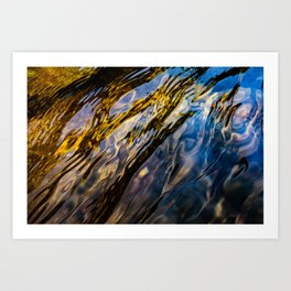 River Ripples in Copper Gold Blue and Brown Art Print