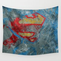 superman Wall Tapestries featuring Superman by Fernando Vieira