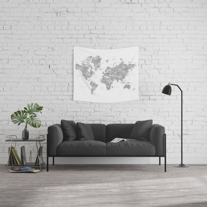 Grayscale watercolor world map with cities Wall Tapestry