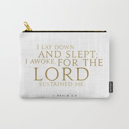 Psalm 3:5 Bible Verse - White Gold Carry-All Pouch