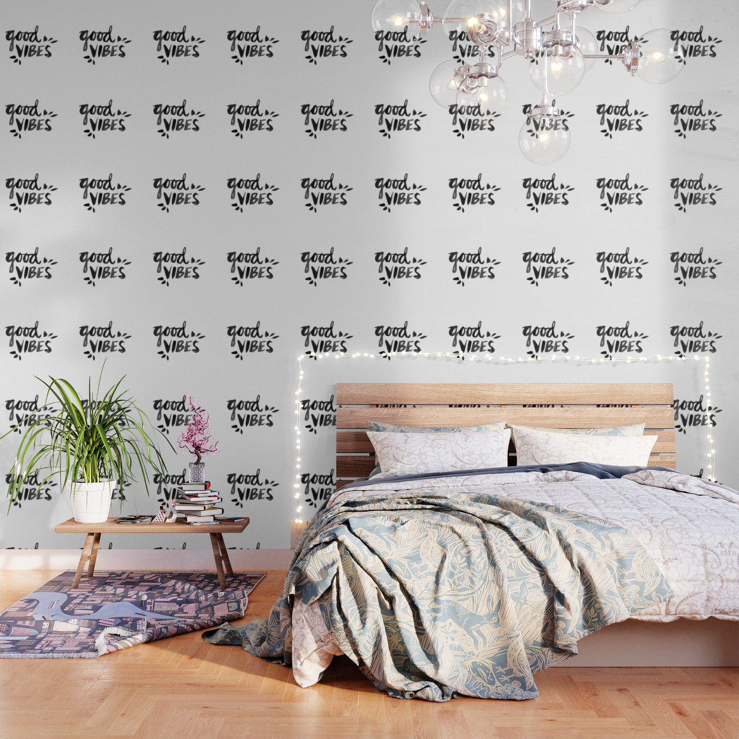 Good Vibes Black Ink Wallpaper By Catcoq Society6