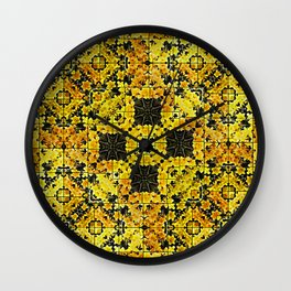 Golden Daffodil Mosaic Wall Clock