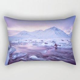 Freezing Mountain Lake Landscape Rectangular Pillow
