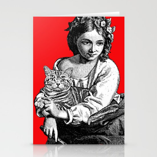 Young Girl with Cat Stationery Cards