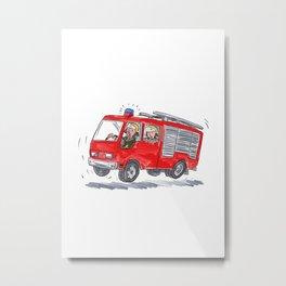 Red Fire Truck Fireman Caricature Metal Print