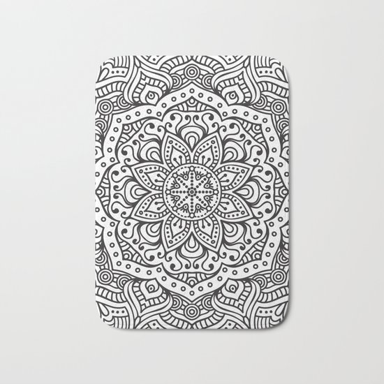 WHITE FLOWER MANDALA Bath Mat