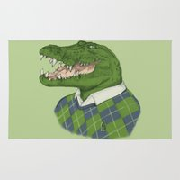 crocodile Area & Throw Rugs featuring Argyle Crocodile by Phil Jones
