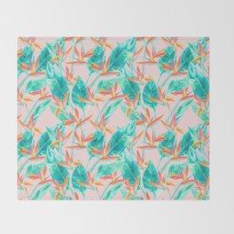Birds of Paradise Blush Throw Blanket