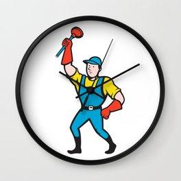Super Plumber Wielding Plunger Cartoon Wall Clock