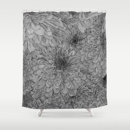 Linework Zinnias Shower Curtain