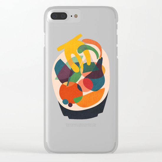 Fruits in wooden bowl Clear iPhone Case
