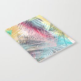 Jungle pampa colorful forest. Tropical fresh forest pattern with palms Notebook