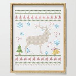 Elk Hunting Christmas Ugly Holiday Shirt Serving Tray