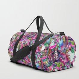 Q - blue pink Duffle Bag