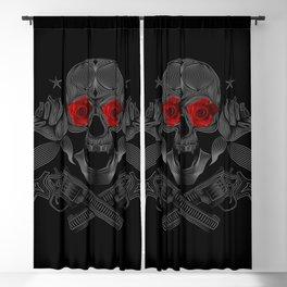 Skull, roses and guns Blackout Curtain