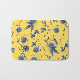 Elegant Blue Passion Flower on Mustard Yellow Bath Mat