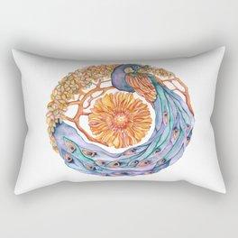 peacock at peace mandala Rectangular Pillow