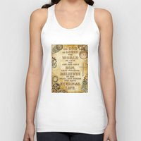 bible verse Tank Tops featuring Steampunk Bible Verse For God So Loved the World by Whimsy and Nonsense