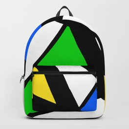 China Blue, Apple Green and Sunshine Yellow Abstract Backpack