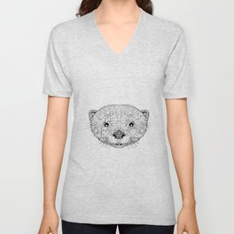 Asian Small Clawed Otter Black and White Mascot Unisex V-Neck