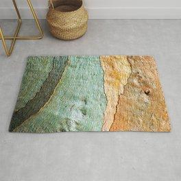 Eucalyptus Tree Bark Wood Abstract Colorful Texture Macro Rug