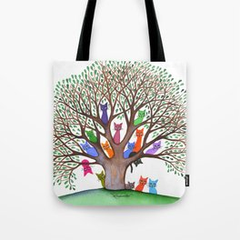 Topeka Whimsical Cats in Tree Tote Bag