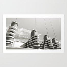 PAN PACIFIC AUDITORIUM BLACK AND WHITE Art Print