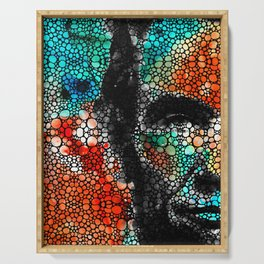 Red and Blue Mosaic Abraham Lincoln Portrait Art Sharon Cummings Serving Tray