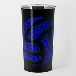 Blue Volleyball Wordcloud - Gift Travel Mug