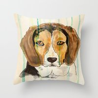 beagle Throw Pillows featuring Beagle by Tammy Kushnir