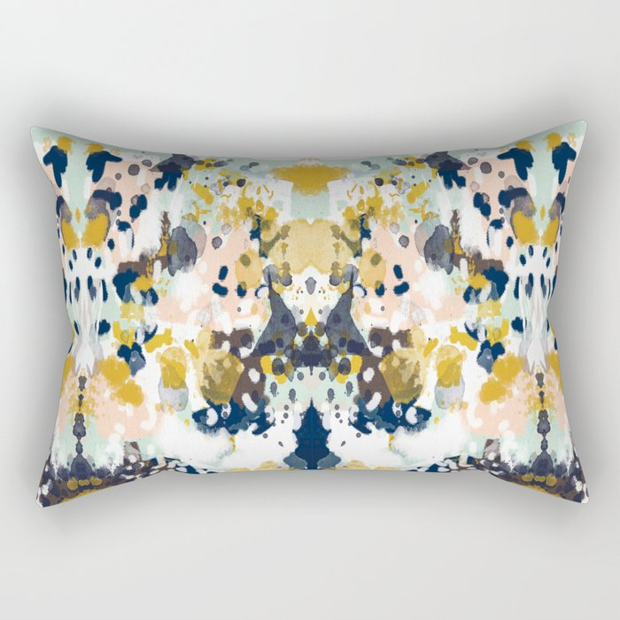 Sloane - Abstract painting in modern fresh colors navy, mint, blush, cream, white, and gold Rectangular Pillow