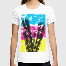 cactus with colorful painting abstract background in blue pink yellow T-shirt