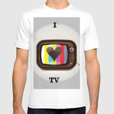 I Love TV vintage poster Mens Fitted Tee MEDIUM White