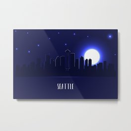 Seattle skyline silhouette at night Metal Print