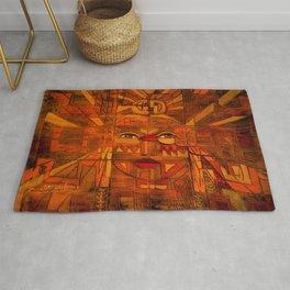 Indigenous Inca Sun God Inti portrait painting by Ortega Maila Rug