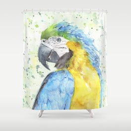 """Watercolor Painting of Picture """"Macaw"""" Shower Curtain"""