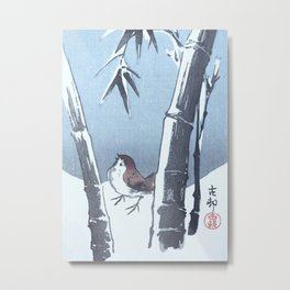 Sparrow and the Bamboo Tree - Vintage Japanese Woodblock Print Art Metal Print
