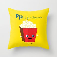 P is for Popcorn Throw Pillow