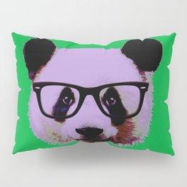 Panda with Nerd Glasses in Green Pillow Sham