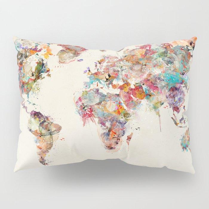 world map watercolor deux Pillow Sham