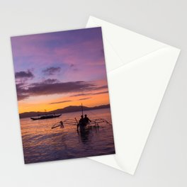 Colorful sunset at the beach of Port Barton, Palawan | Travel photography Philippines Stationery Cards
