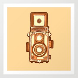 Vintage camera orange Art Print